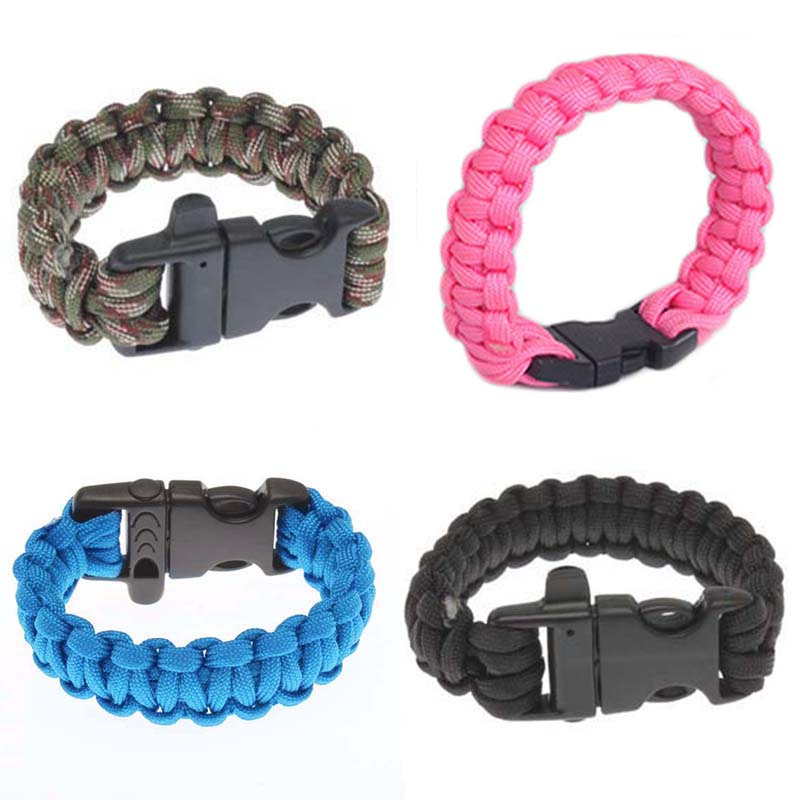 10 Inch Durable Army Military Survival Bracelet Buckle With Whistle Outdoor Sports Hiking Working Personal Security Lifeline