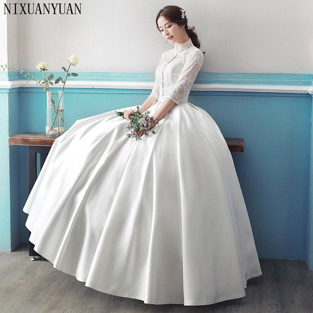 Real Photo Cheap Long Sleeve Wedding Dress 2019 Lace Vintage Plus ...