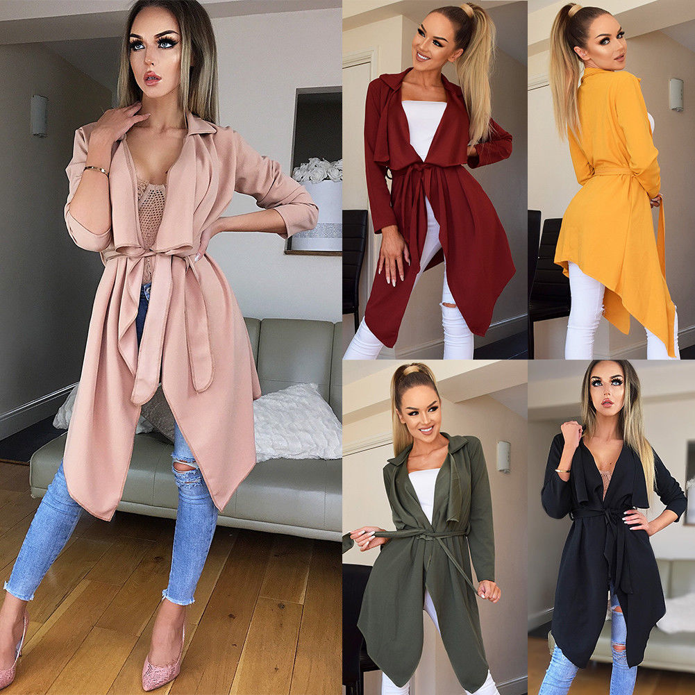Women Ladies Long Sleeve Cardigan Loose Outwear Fashion Autumn Winter Bandage   Trench   Coat Top