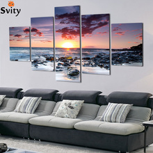 5 Piece Wall Art Canvas Sunset Sea  Picture Oil Painting Home Decor Pictures For Living Room No Framed
