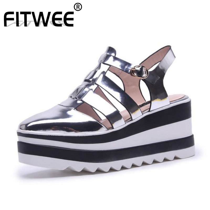FITWEE Women High Heel Sandals Buckle Square Heel Real Leather Female Summer Shoes Fashion Vacation Daily