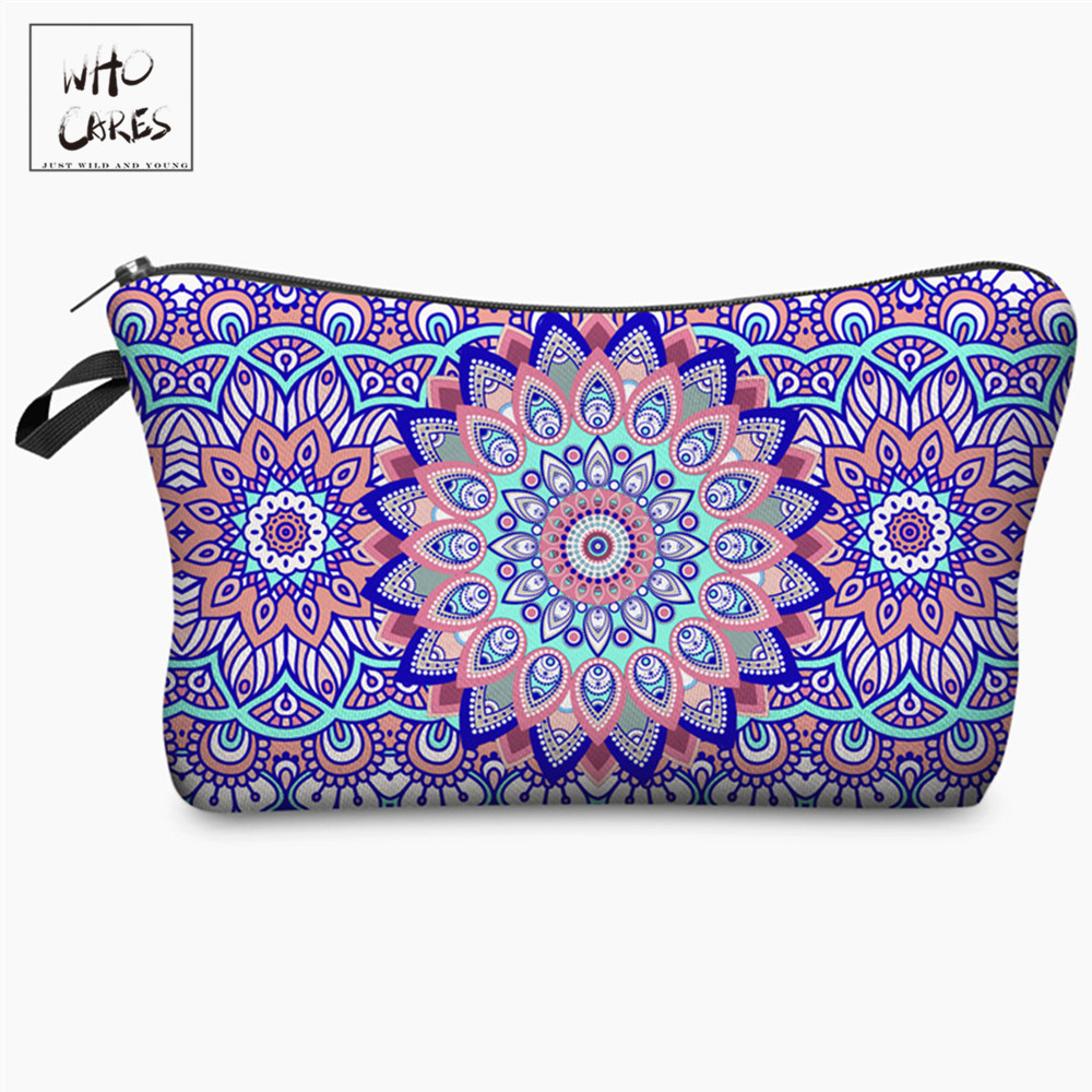 Who Cares Mandala 3D Printing With Multicolor Pattern Cosmetic Organizer Bag Makeup Bags Travel Ladies Pouch Women Cosmetic Bag