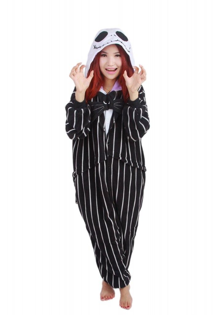 Unisex Fleece Adult Jack Skellington Onesies Animal Cosplay Costume Halloween Xmas Pajama
