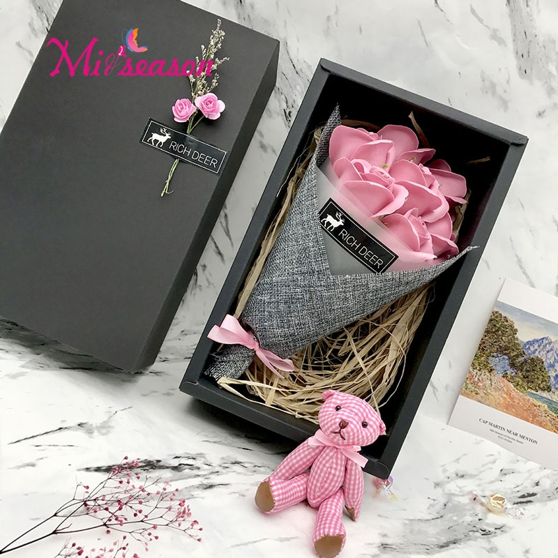 Handmade Soap Flowers Set Bear Gift Box Mothers Teachers Day Birthday Valentines Flower Carnation Bouquet 7pcs In Artificial Dried