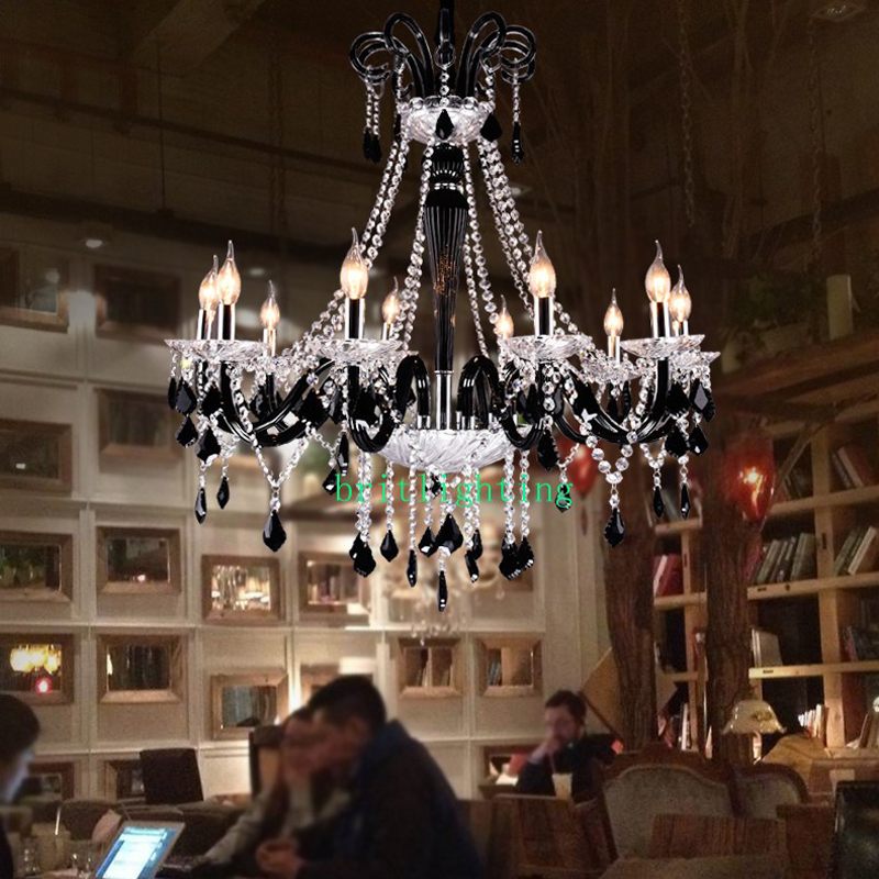 Black Crystal Chandeliers Led Transparent Crystal Light Modern Black Chandelier Crystal Pendants Modern Led Chandelier Kitchen
