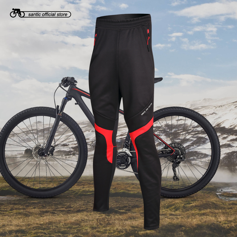Santic Men Cycling Pants Winter Cycling Thermal Pants Running Outdoor Pants Cycling Clothings Asian size M