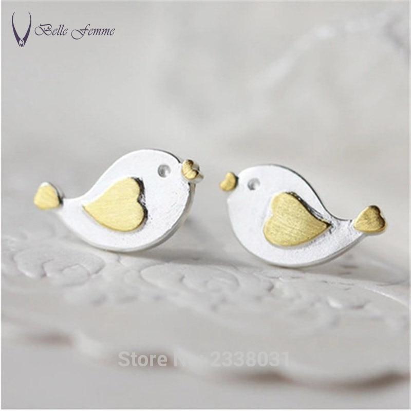 Silver line Anti allergy Hand Brushed Bird Earrings Animal Fashion Earrings for women Stud Earing Jewelry-CYSVSER034