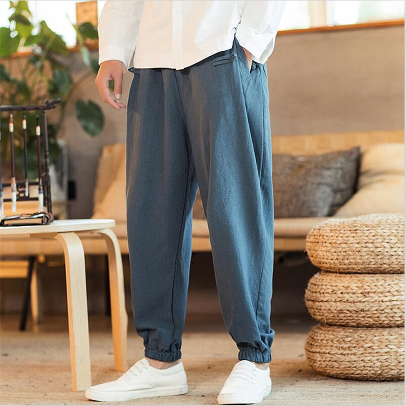 Chinese Style Foot Straps Pants Fashion Men Vintage Solid Wide Leg Trousers Plus Size Drawstring Waist Male Pants M-7XL