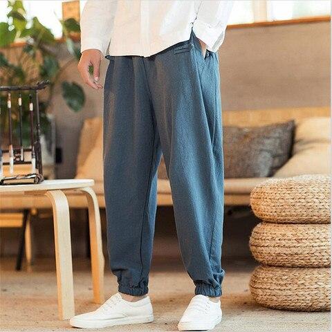 Cintas do pé Calças dos Homens da Forma do Estilo Chinês do Vintage Cintura com Cordão Sólida Calças Perna Larga Tamanho Grande Masculino M-7xl