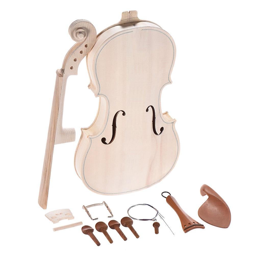 Bricolage 4/4 Kit de violon acoustique en bois massif naturel avec plateau en épicéa EQ en aluminium