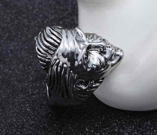 Moda stal nierdzewna vintage biżuteria pierścień człowieka stary człowiek kształt głowy styl ciężkich metali Punk Rock pierścienie dla kobiet mężczyzn prezent