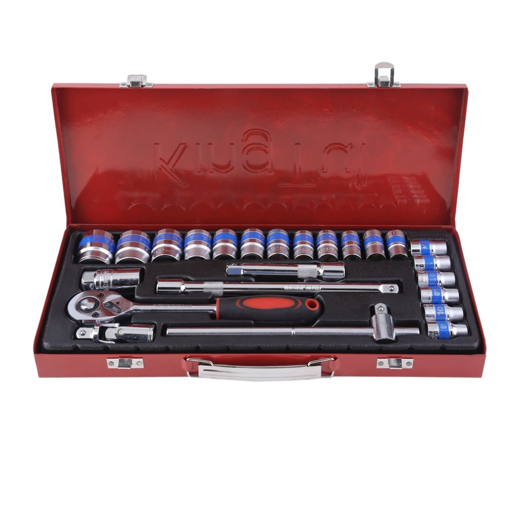 24PCS 3/8 Inch 6-24mm Nuts Ratchet Socket Spark Plug Inserts Set Home Appliances Auto Repair Tools J28C29