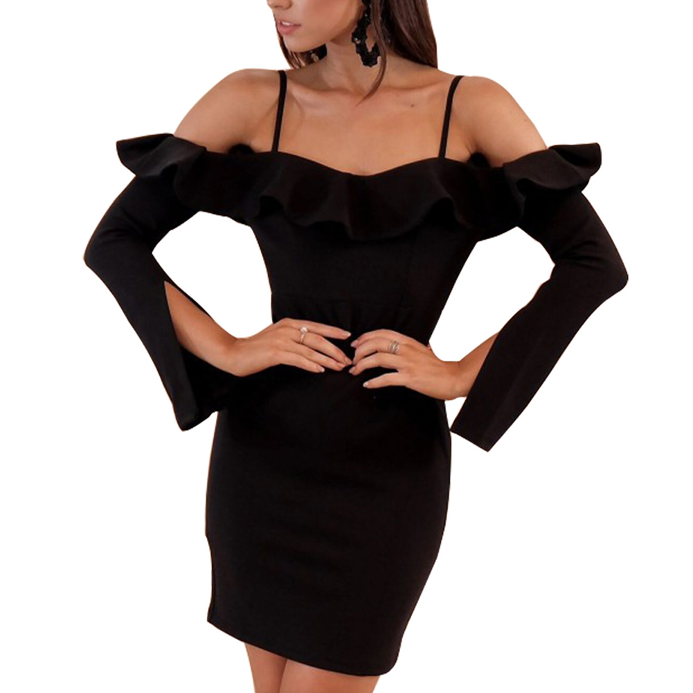 Women Strap Off Shoulder Slash Neck Ruffle Sexy Bodycon Dress Long Sleeve Short Mini Dresess H9