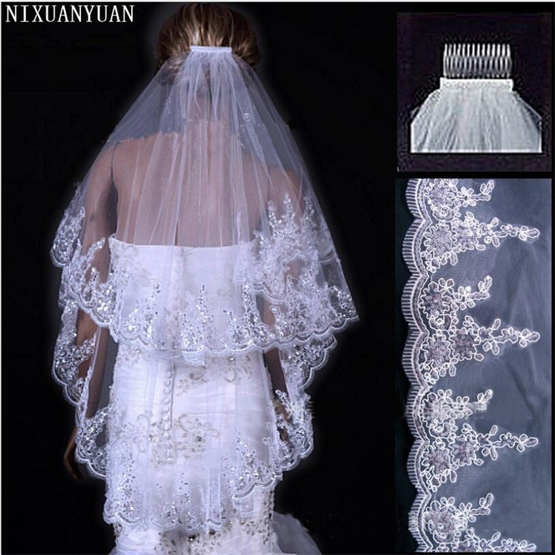 NIXUANYUAN Ivory Wedding Veil Short Tulle White Two-Layears Cheap Wholsale