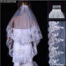 NIXUANYUAN дешевые оптовые продажи два Layears белая слоновая кость свадебная вуаль короткая тюль вуаль свадебные аксессуары