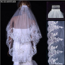 NIXUANYUAN 2020 Cheap Wholsale Two Layears White Ivory Wedding Veil Bridal Veil Short Tulle Veils Wedding Accessories cheap Bridal Veils WOMEN Applique Edge Two-Layer P1319 Polyester None Adult Elbow Length Veil