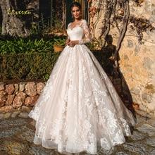 Loverxu Alluring Scoop A Line Wedding Dresses 2019 Delicate Appliques Long Sleeve Bride Dress Chapel Train Bridal Gown Plus Size