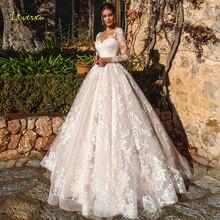 Loverxu nęcący Scoop Line suknie ślubne 2019 delikatne aplikacje z długim rękawem suknia dla panny młodej kaplica pociąg suknia ślubna Plus rozmiar