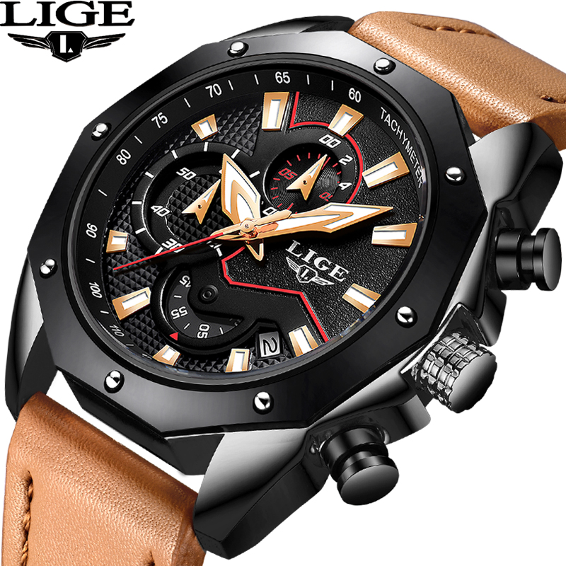 LIGE Mens Watches Top Brand Luxury Mens Military Sports Watch Mens Large Dial Waterproof Leather Quartz Watch Relogio Masculino mens watches top brand luxury oulm 3130 dual time large dial watches leather band casual quartz watch relogio masculino grande