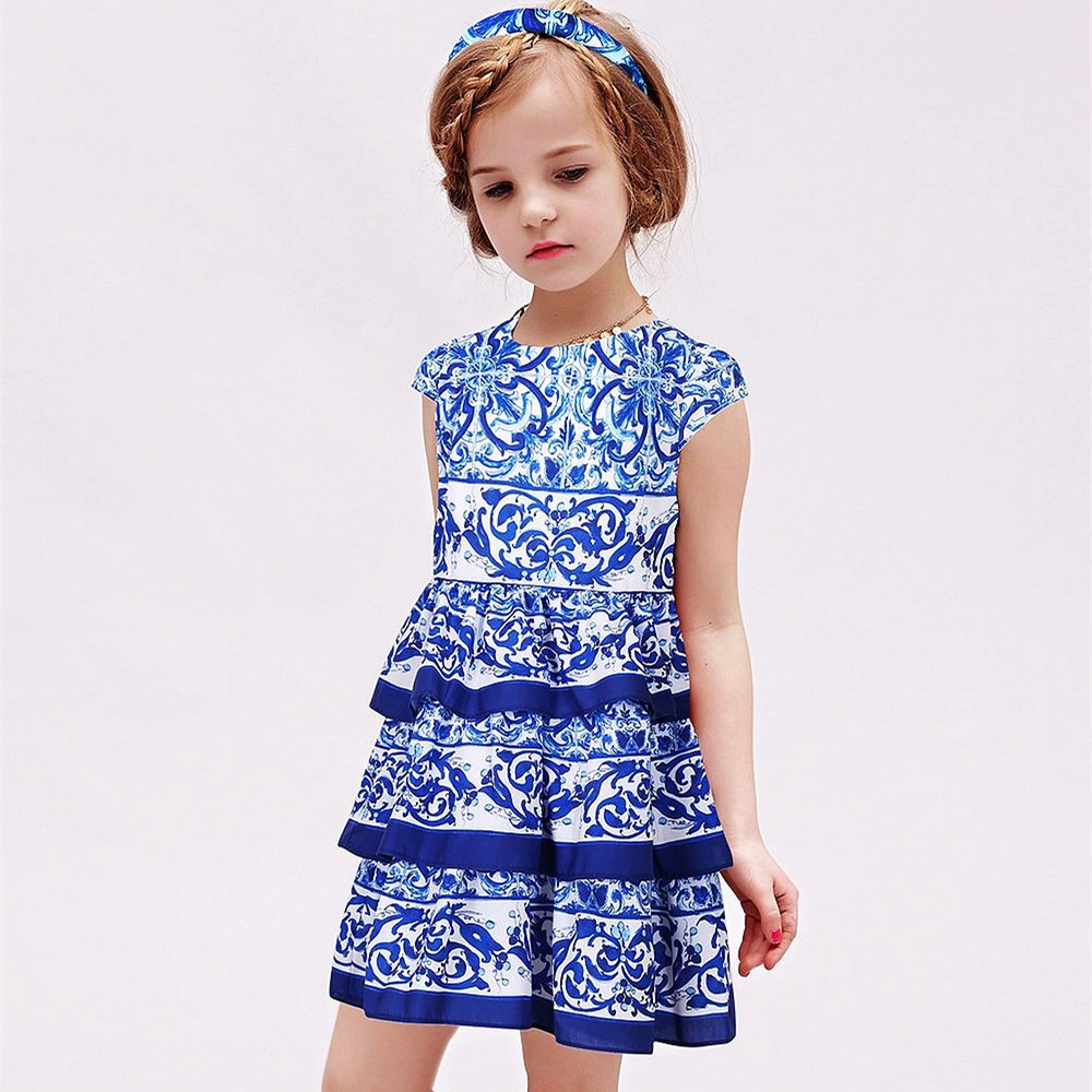 Baby Girls Dresses Kids Clothes 2018 Blue Majolica Floral Children Dress Princess Costume Layered Girls Dress Toddler Vestidos oversized sweet layered tiny floral blouse black shorts
