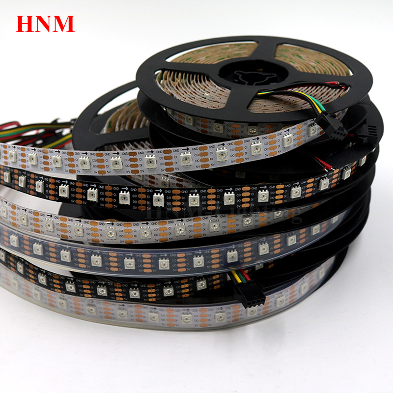 5V 60LED s/m HD107S (Similaires APA102/APA107)5050 SMD Numérique BANDE PIXELS LED RVB LED BANDE Lumineuse, Téléviseur Ambilight, Blanc/noir PCB,IP20/IP65/IP67