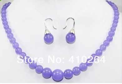 $ Wholesale_jewelry_wig $จัดส่งฟรีที่มีเสน่ห์ธรรมชาติที่แท้จริงสวยสีม่วงหยกสร้อยคอต่างหูชุด