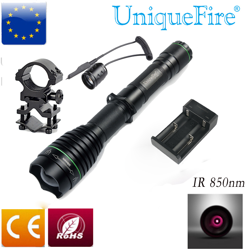 UniqueFire UF-1508 IR 850nm 38mm Lens Infrared Flashlight Night Vision Light Torch + Two Slot Charger + Rat Switch + Scope Mount