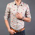 2016 Nova boutique camisas de vestido dos homens ocasionais da forma dos homens Impressos camisas/camisa dos homens magros camisas de manga longa dos homens padrão flor
