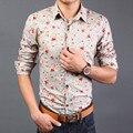 2016 Nueva boutique de los hombres camisas de vestir de los hombres de moda casual Impreso camisas/patrón de los hombres camisa de los hombres delgados camisas de manga larga flor