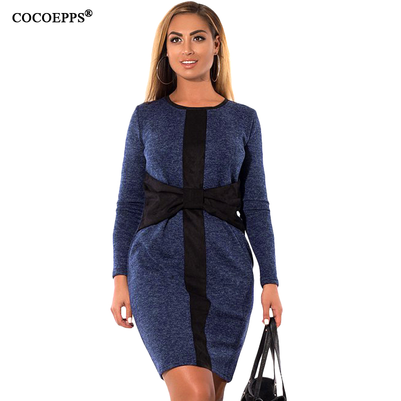 COCOEPPS donne di Grandi Dimensioni Patchwork Vestiti di Marca 2017 Autunno  Plus Size Abbigliamento donna Manica Lunga Inverno Vestito Elegante abiti  in ... 9ed63ffb99f