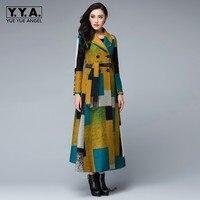 Евро 2019 осень зима женские Lapal воротник узкие облегающие шерстяные однотонное Пальто цветной печатных теплое пальто полная длина леди