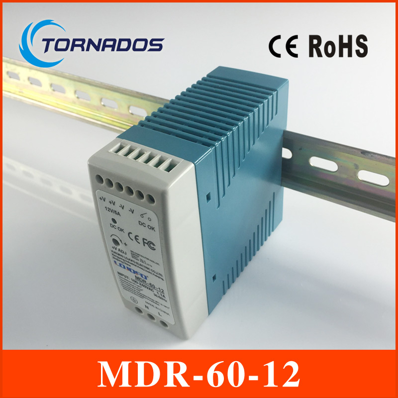 MDR-60-12 Industrial DIN rail Mini switching power supply for LED driver 12v 5A 60W AC85-264V to DC 12V ac dc dr 60 5v 60w 5vdc switching power supply din rail for led light free shipping