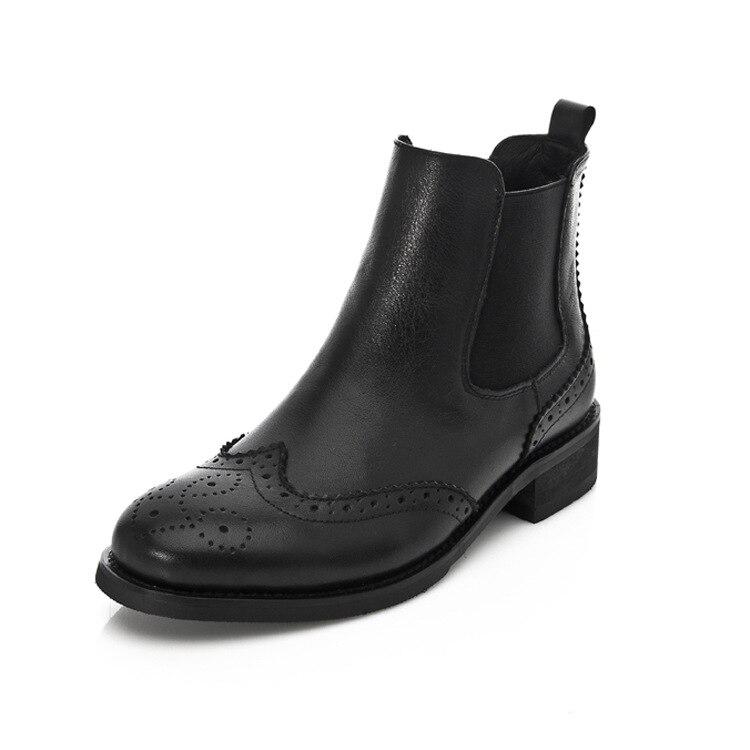 Femmes En Cuir Véritable Boucle Cheville Bottes Chaton Talon Oxford Bottes Côté Fermeture À Glissière Chaussures de Sport