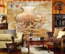 Classic Home Decor Fashion Customized 3D Curtains Yellow, Jade Carving, Vase Bed Living Room Hotel Curtains For Bedroom(China)