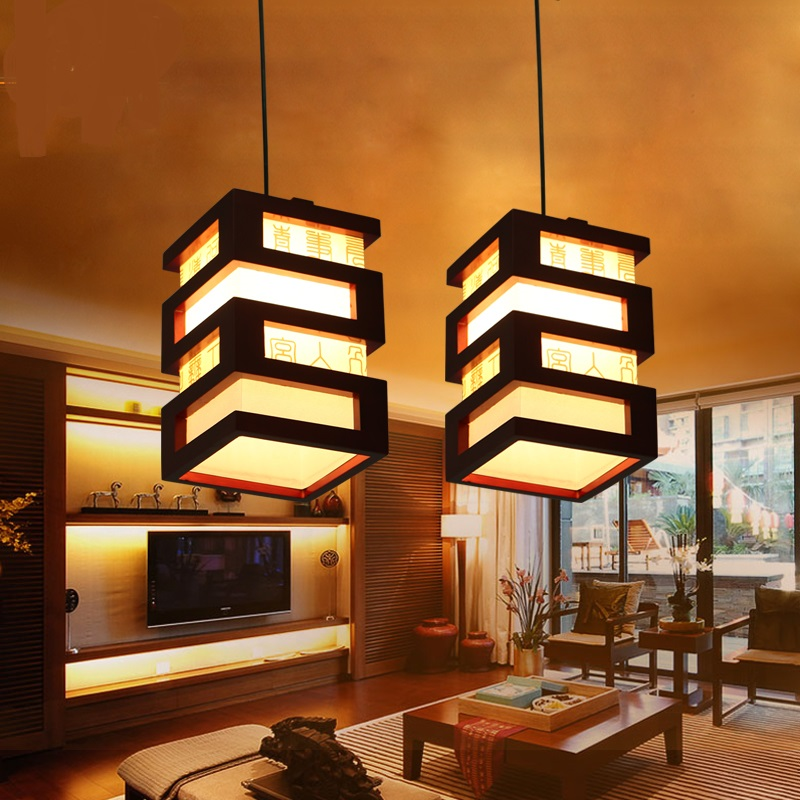 Rich Chinese Pendant Lights solid wood dining room restaurant lights creative dining pendant lamp hallway 2017 zcl ZS47 chinese style wooden pendant lights solid wood living room dining room pendant lamp creative bedroom study hallway zs37 lu1017