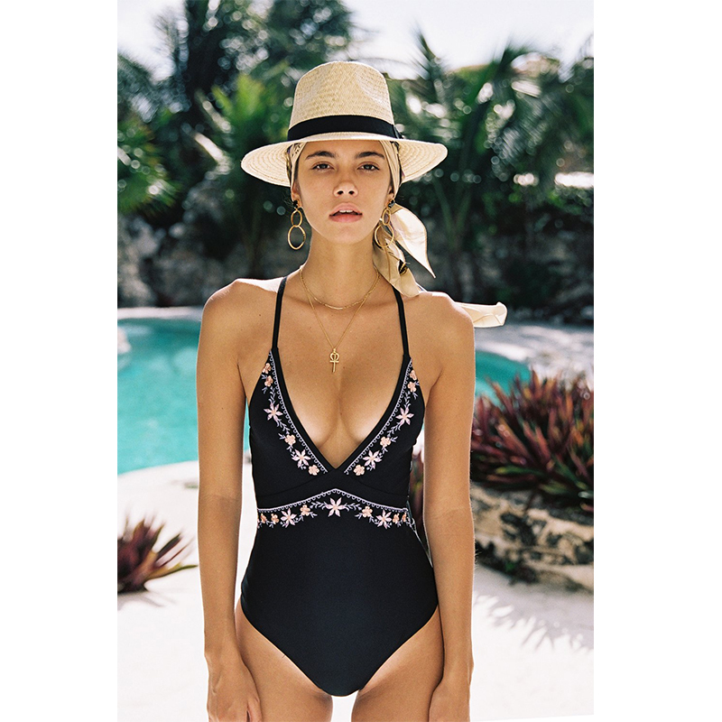 Black V-neck Embroidery One-piece Swimsuit Women Backless Swimwear Female 2019 Girl Bandage Beach Bathing Suit Soild Monokini bandage vintage beach wear one piece swimsuit women backless trikini deep v neck monokini triquini sexy bathing suit page 6