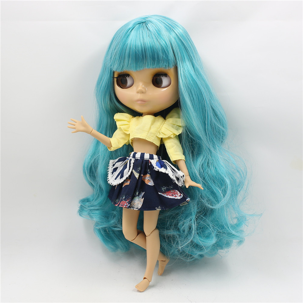 Neo Blythe Doll with Turquoise Hair, Tan Skin, Shiny Face & Jointed Body 1