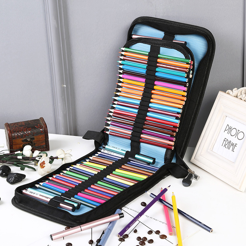 Large Pencil Case 72/120 Holes Folding Student Pen Stationery Art Markers Drawer Painting Box School Office Storage Bags Gift