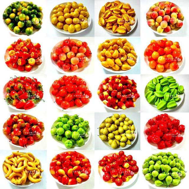 50pcs/lot Simulation Model Mini Fruits Vegetables Decorative Artificial  Fruits Compote Simulation Apple Pear Orange