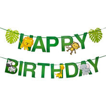1 conjunto feliz aniversário bandeira de desenhos animados, papel guirlanda, selva, safari, festa de decoração, lembrança para crianças