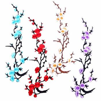 1 Pc duży kwiat śliwy kwiat naszywki żelazko na 3D haftowane Patch czerwony aplikacja szyć na DIY naklejka materiałowa naprawy ubrania plastry tanie i dobre opinie HANDMADE Przyjazne dla środowiska Do przyprasowania twilingh Haftowana