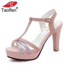 7cd7cfa50 Tamanho 34-43 TAOFFEN Mulheres Elegantes Sandálias de Salto Alto Brilho  Brilho Fivela de Spike Sandálias de Salto Sapatos de Cas.