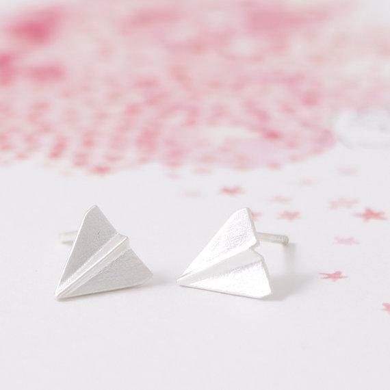 Gold Silver Origami Plane Stud Earrings