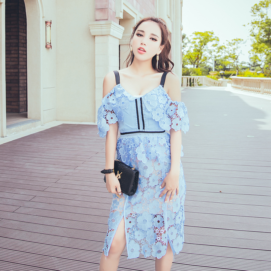 Free Shipping Light Blue Floral Lace Dress 424ae 42630