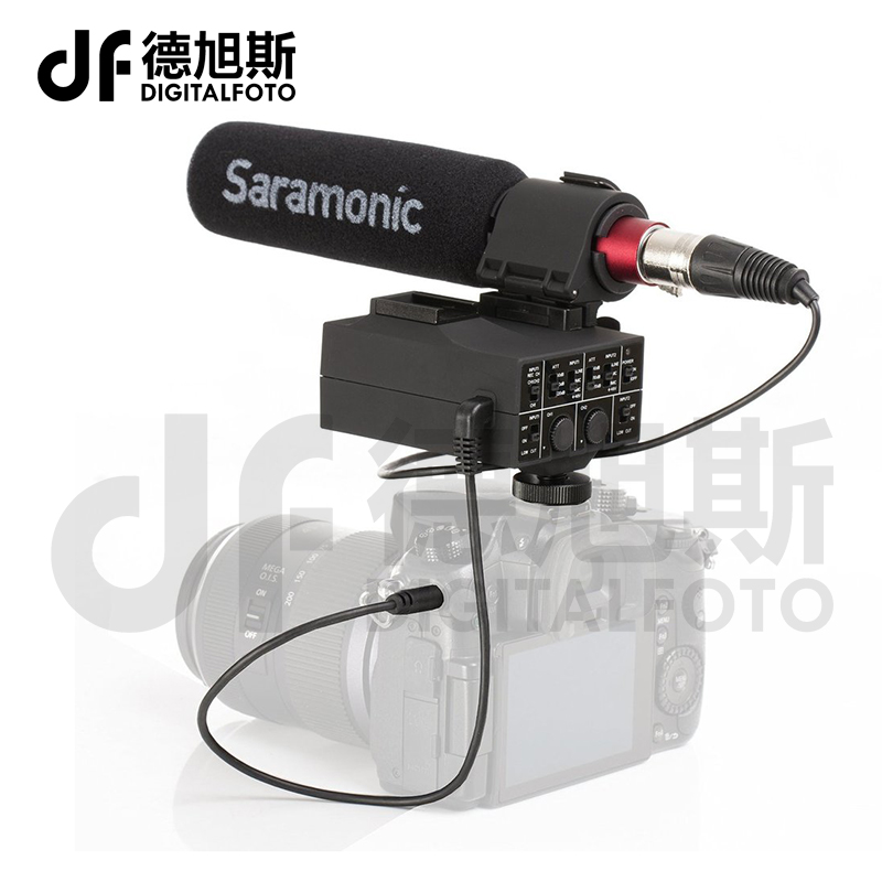 Saramonic MixMic Shotgun VIDEO Microphone with Integrated 2-Channel XLR Audio Adapter for DSLR Cameras & Camcorders saramonic 2 channel audio mixer preamp microphone adapter dual xlr 6 3mm 3 5mm inputs for iphone 7 smartphone guitar dslr camera