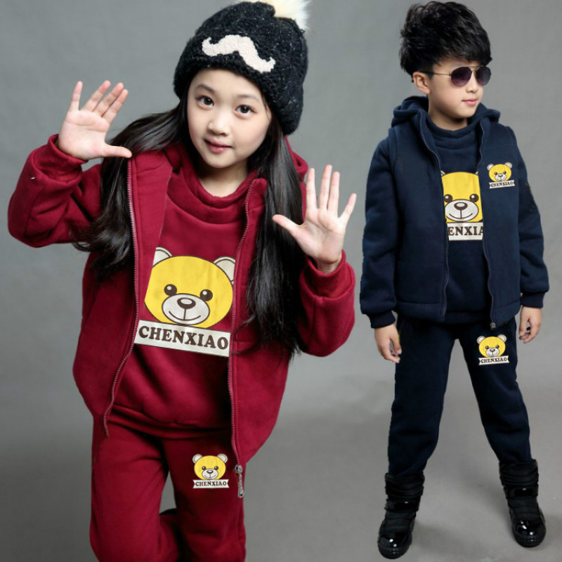 Baby Clothing Sets Autumn Winter Thick Velvet Children Boys Girls Clothes Bear Print Kids Hooded Coat+Shirt +Pants 3Pcs Suits lzh children boys clothes 2018 winter kids girls clothes coat t shirt pants 3pcs boys sport suit costume for girls clothing sets