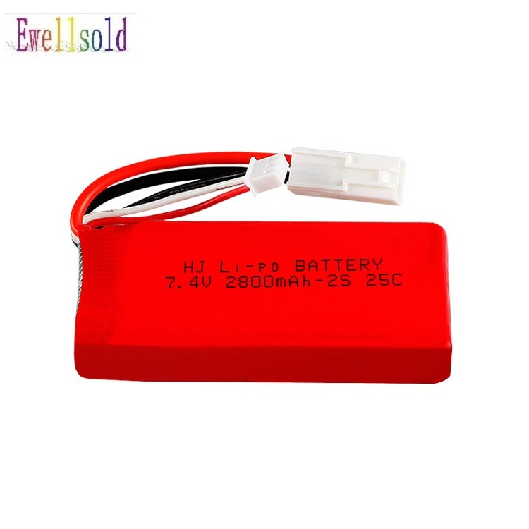 Ewellsold 7.4V 1500mAh battery/<font><b>2800mah</b></font>/USB charger For FT009 Remote controlboat speedboat <font><b>Lipo</b></font> battery 7.4V 1500mah battery <font><b>2s</b></font> image