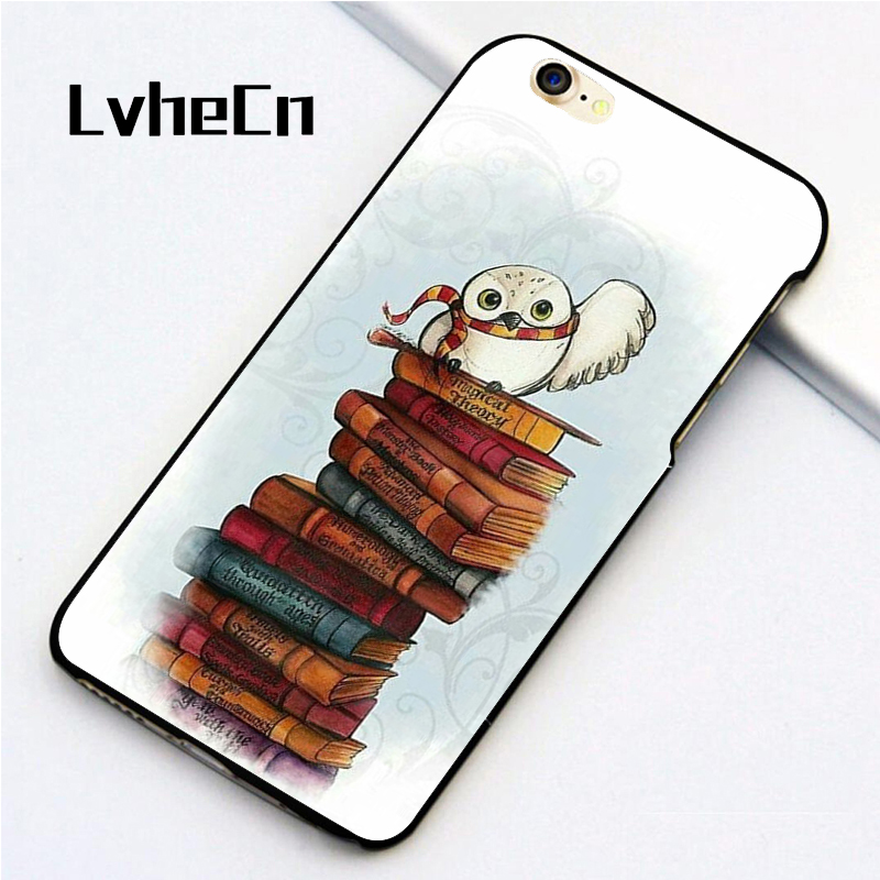 LvheCn 5 5S SE phone cover <font><b>cases</b></font> for <font><b>iphone</b></font> 6 6S 7 <font><b>8</b></font> Plus X back skin shell Book Owl <font><b>Harry</b></font> <font><b>Potter</b></font> image