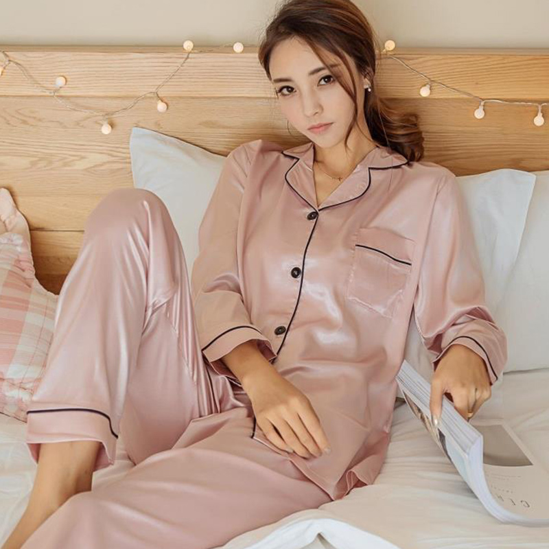 Silk Satin Button Solid Women's Pajamas Set Long Sleeve Turn Down Collar Two Piece Women 2018 Autumn Trousers Bathrobe Nightie