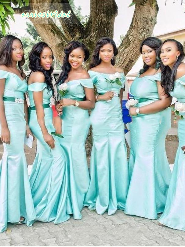 b71e3c1bcd 2016 Mint Green Mermaid Long African Group Bridesmaid Dresses Plus Size Off  The Shoulder Floor Length Satin Wedding Party Dress